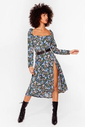 Nasty Gal Womens Holy Slit Floral Midi Dress - Black