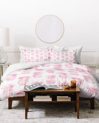 Deny Designs Schatzi Brown Tropical Pineapple Pink Duvet Cover