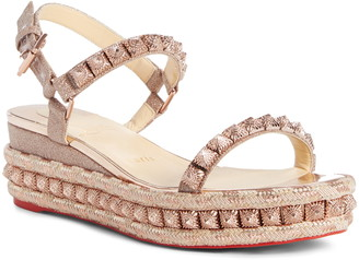 Christian Louboutin Pira Studded Glitter Wedge Sandal