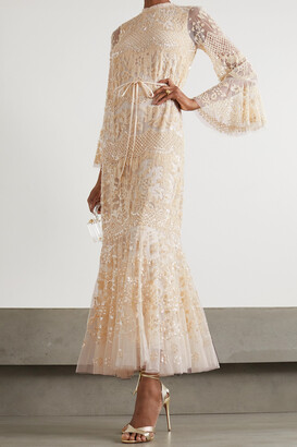 NEEDLE & THREAD - Snowdrop Sequin-embellished Tulle Gown - Pink