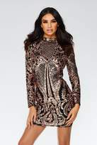 Quiz Black and Rose Gold Sequin Bodycon Dress