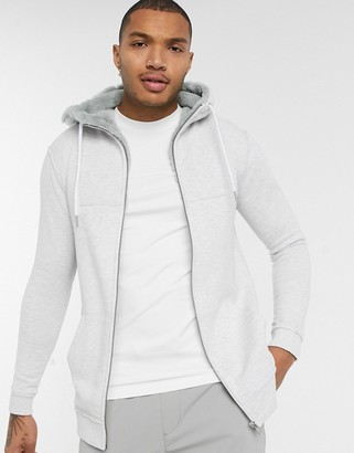 Asos DESIGN hoodie with faux fur hood lining in ultra light gray marl
