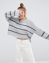 Asos Chunky Sweater With Contast Ladder Stitch