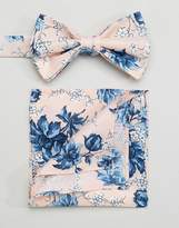 Asos WEDDING Bow Tie & Pocket Square In Pink Floral Print