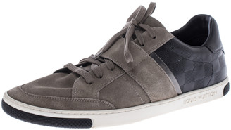 Louis Vuitton Grey/Black Suede And Leather Low Top Sneakers Size 41