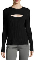 Frame Overlap Rib Sweater, Red