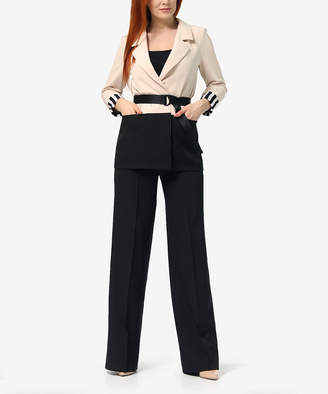 LADA LUCCI Women's Blazers Peach - Peach Color Block Belted Blazer & Black Wide-Leg Pants - Women & Plus