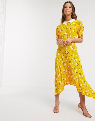 Ghost tiggy crepe floral midi dress in yellow