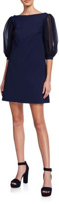Chiara Boni Organza-Sleeve A-line Dress
