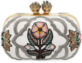 Alexander McQueen Queen & King Skull Embroidered Box Clutch Bag