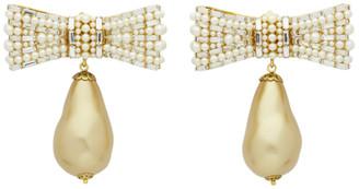 Dolce & Gabbana Gold Bow Pearl Earrings