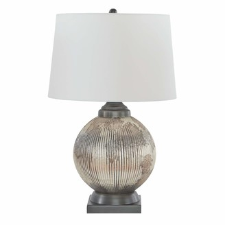 Signature Design by Ashley Cailan Glass Table Lamp - Vintage - Antique Silver/Bronze