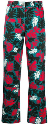 Marni leaf print front pleated trousers