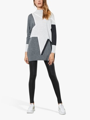 Mint Velvet Colour Block Star High Neck Jumper, Grey