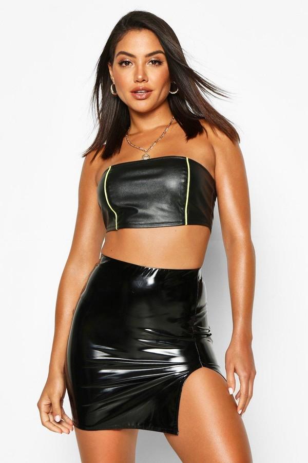 boohoo Thigh Split Vinyl Mini Skirt