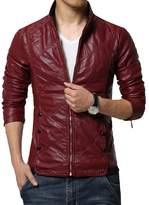 Idopy Men`s Casual Slim Fit Rider Trucker PU Faux Leather Jacket M