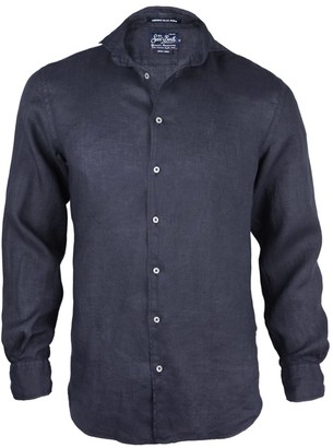 MC2 Saint Barth Blue Navy Mens Linen Shirts Pamplona