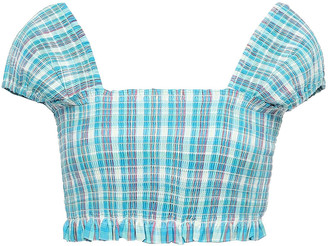 Nicholas Cropped Shirred Checked Cotton Top