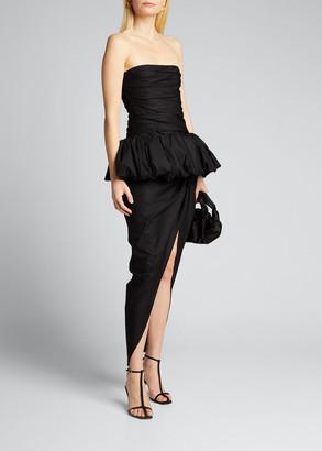 KHAITE Gwen Twill Strapless Peplum Dress