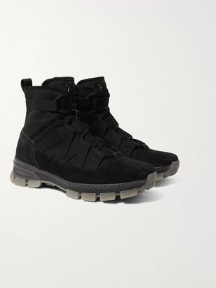 Loewe Panelled Suede, Textured-Canvas And Webbing Lace-Up Boots