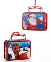 Kurt Adler Rudolph and Santa Mini Tin Lunchbox Ornament