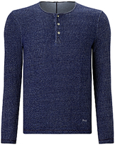 Denham Irvin Henley Long Sleeve Shirt, Indigo