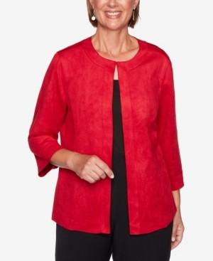 Alfred Dunner Women's Plus Size Knightsbridge Station Soft Suede Jacket