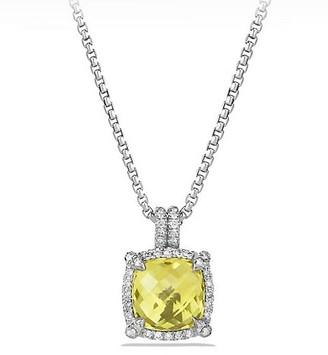 David Yurman Chatelaine Pave Bezel Pendant Necklace with Gemstone & Diamonds/9mm