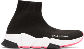 Balenciaga Black and Pink Speed Sneakers