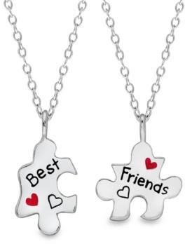 Rhona Sutton 4 Kids Children's Puzzle Pieces Best Friends 2-Piece Necklace Set in Sterling Silver