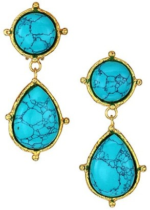 Sylvia Toledano 2-Stone Dots Goldtone & Turquoise Drop Earrings