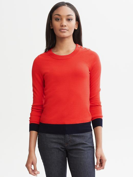 Banana Republic Extra-fine merino wool colorblock pullover