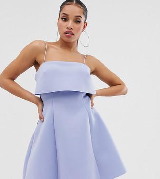 Asos DESIGN Petite crop top skater mini dress-Blue