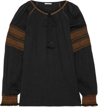 Mes Demoiselles Tircis Smocked Embroidered Cotton-gauze Blouse