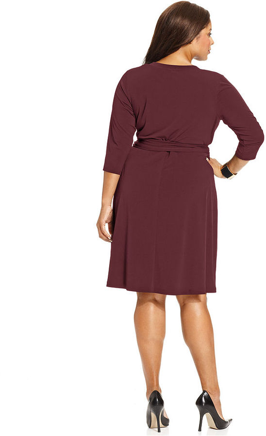 Amy Byer Plus Size Dress, Three-Quarter-Sleeve Belted Faux Wrap