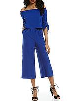 GB Off-The-Shoulder Popover Tie-Detail Side-Pockets Culotte Jumpsuit