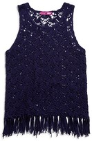 Aqua Girls' Crocheted Fringed Tank - Sizes S-XL