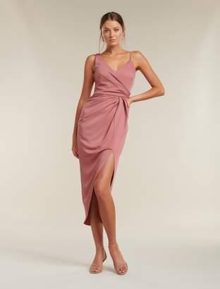 Ever New Hallie Drape Satin Midi Dress