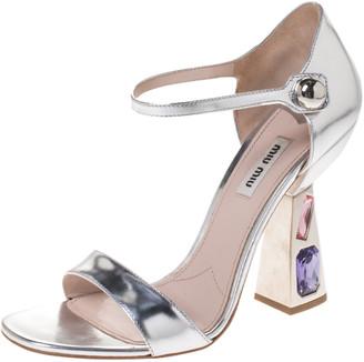 Miu Miu Metallic Silver Leather Crystal Heel Open Toe Sandals Size 39