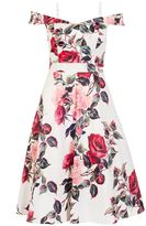 Quiz Cream And Red Floral Print Bardot Prom Dress