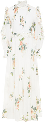 Zimmermann Broderie Anglaise-trimmed Shirred Floral-print Cotton Maxi Dress