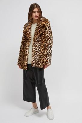 French Connection Leopard Print Faux Fur Coat