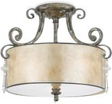 Mica Kendra 3-Light Semi-Flush Mount Ceiling Lighting Fixture with Silver Finish and Oyster Shade