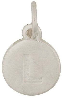 Mocha Round Plate Letter Sterling Silver Charm - L