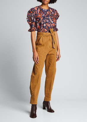 Ulla Johnson Joni Floral Puff-Sleeve Blouse