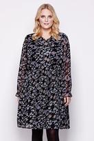 Yumi Curves Floral Pleated Dress plus size 18-26 Black
