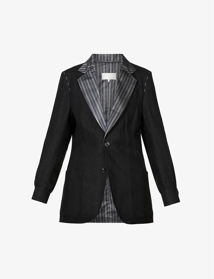 Maison Margiela Contrast-lapel linen blazer