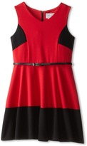 Us Angels Sleeveless Ponte Bleted Color Block and Full Skirt (Big Kids)