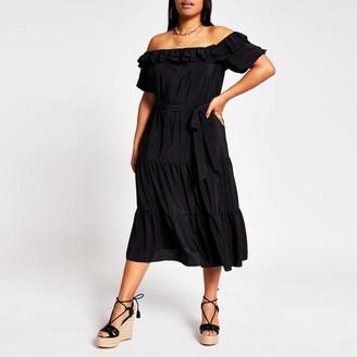 River Island Womens Plus Black short sleeve bardot midi dress