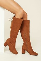 Forever 21 FOREVER 21+ Faux Suede Tall Lace-Up Boots